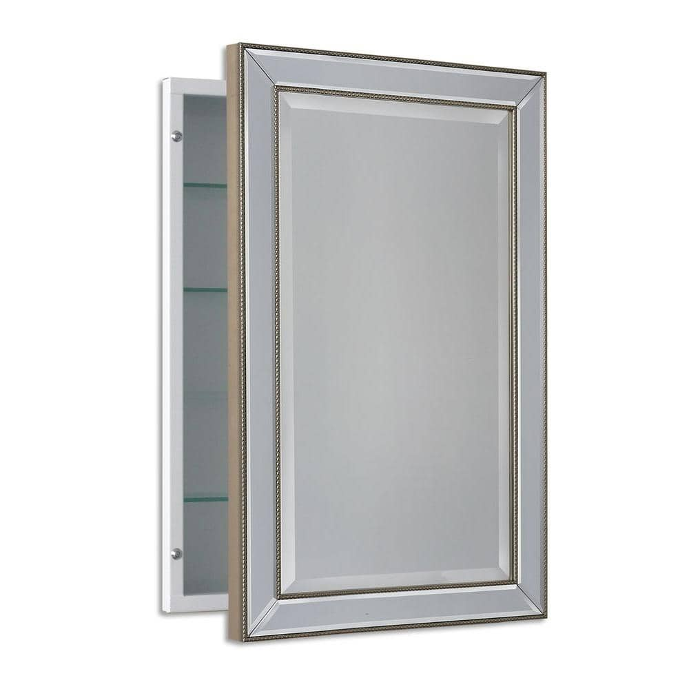Deco Mirror 16 In W X 26 In H X 5 In D Framed Single Door Recessed Metro Beaded Bathroom Medicine Cabinet In Silver 6297 The Home Depot