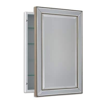 16 in. W x 26 in. H x 5 in. D Framed Single Door Recessed Metro Beaded Bathroom Medicine Cabinet in Silver