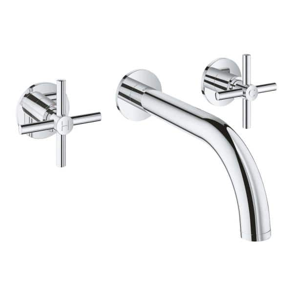 Grohe Atrio 2 Handle M Size Wall Mount Bathroom Faucet In Starlight Chrome 20173003 The Home Depot