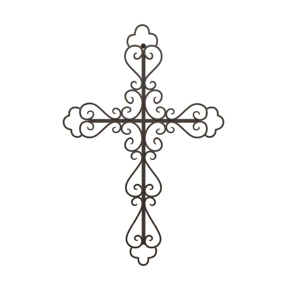 Lavish Home Metal Wall Cross With Fleur De Lis Design Hw0200127 The Home Depot