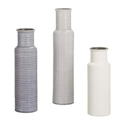 Home Decorators Collection Stone Grey, Shadow Grey and White Ceramic Decorative Vases (Set of 3)