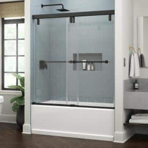 Lyndall 60 x 59-1/4 in. Frameless Mod Soft-Close Sliding Bathtub Door in Matte Black with 3/8 in. (10 mm) Clear Glass