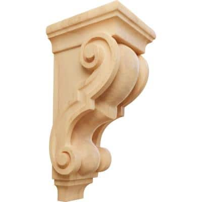 5 in. x 4-1/2 in. x 10 in. Unfinished Wood Red Oak Medium Traditional Wood Corbel