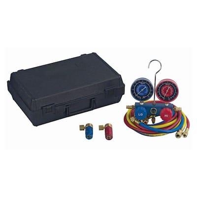 2-Way Manifold and Hoses Plus Aluminum Refrigerant Manifold Set with Case