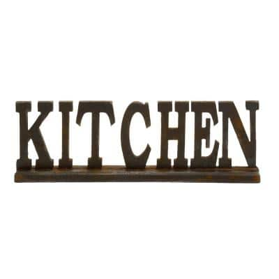 Small Rusted Brown and Black KITCHEN Standing Sign Decor 24 in. x 8 in.