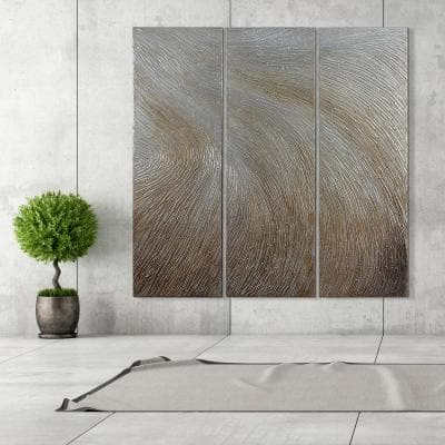 """60 in. x 20 in. """"Gold Waves"""" - Set of 3 Textured Metallic Hand Painted by Martin Edwards Wall Art"""