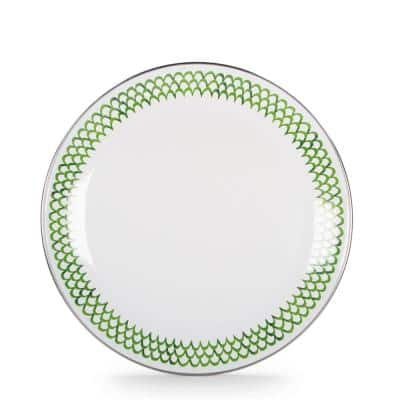 10.5 in. Green Scallops Enamelware Round Dinner Plate Set of 4