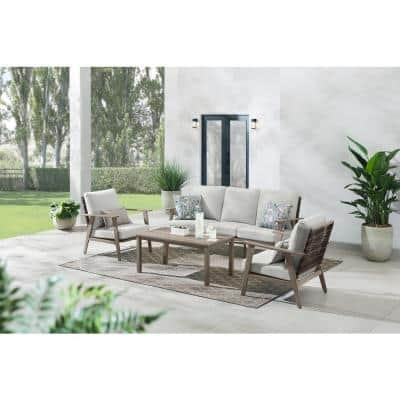 Willowbrook 4-Piece Wicker Patio Conversation Set with CushionGuard Shadow Gray Cushions