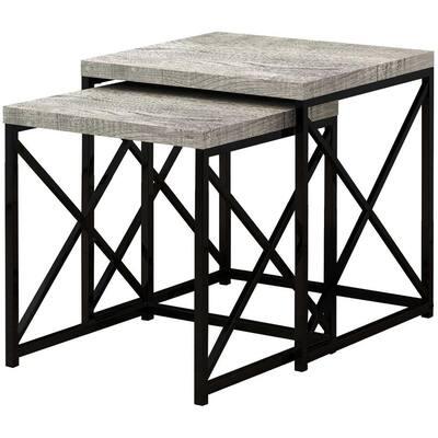 Jasmine 40.5 in. Black Particle Board Metal Nesting Table Set (Set of 2)
