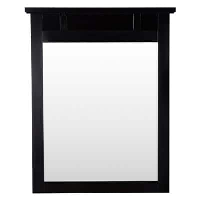 25 in. W x 31 in. H Framed Rectangular  Bathroom Vanity Mirror in Espresso