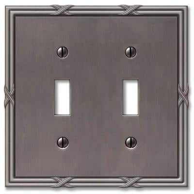 Ribbon and Reed 2 Gang Toggle Metal Wall Plate - Antique Nickel