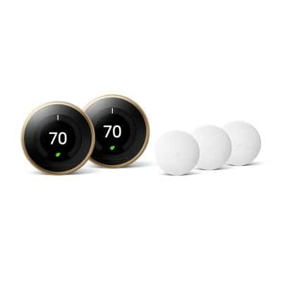 Nest Learning Thermostat 3rd Gen in Brass (2-Pack) and Google Nest Temperature Sensor (3-Pack)