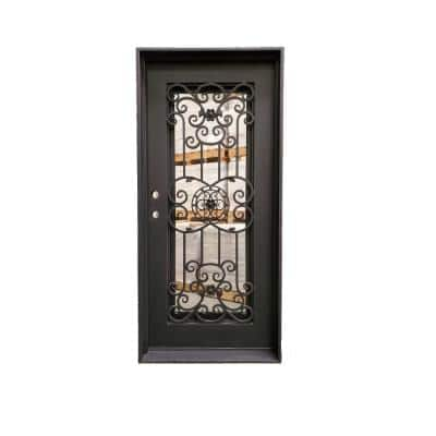 38 in. x 81 in. 1-Panel Right-Hand/Inswing Operable Straight Frosted Glass Dark Bronze Finished Iron Prehung Front Door
