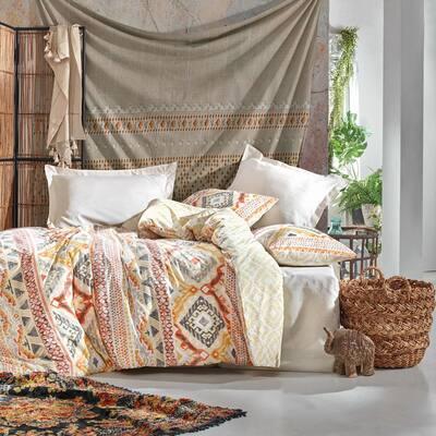 Western Dream Duvet Cover Set : Beige, Queen Size Duvet Cover, 1 Duvet Cover, 1 Fitted Sheet and 2 Pillowcases