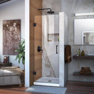 Unidoor 28 in. x 72 in. Frameless Hinged Shower Door in Satin Black
