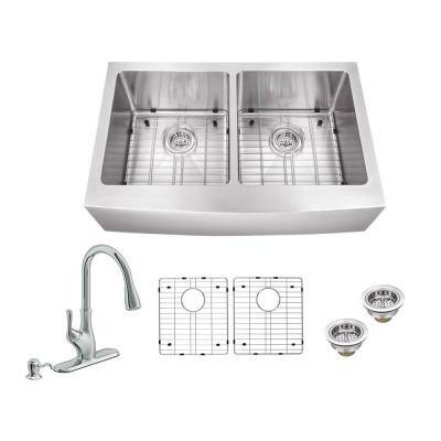 All-in-One Farmhouse Apron Front 16-Gauge Stainless Steel 33 in. 50/50 Double Bowl Kitchen Sink with Pull Out Faucet