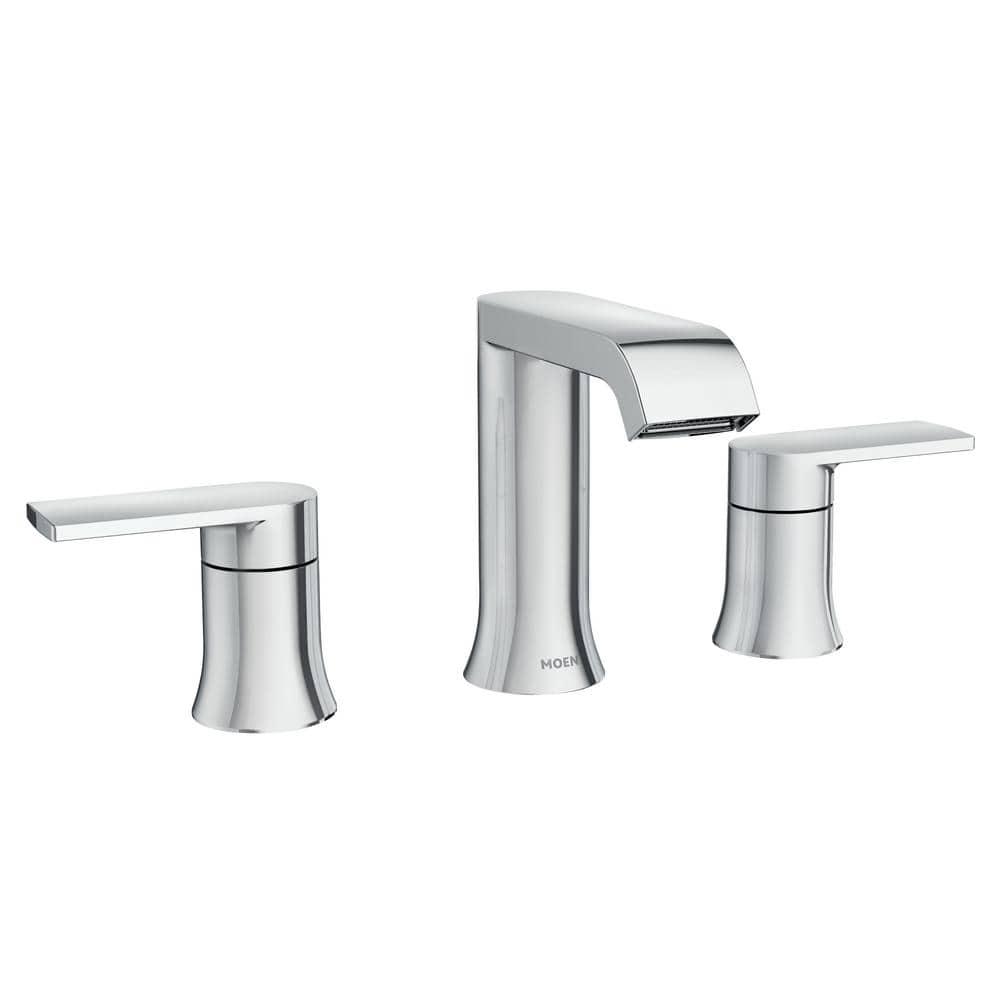 Moen Genta 8 In Widespread 2 Handle Bathroom Faucet In Chrome 84763 The Home Depot