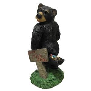 14 in. H Resin Wipe Your Paws Looking Back Bear