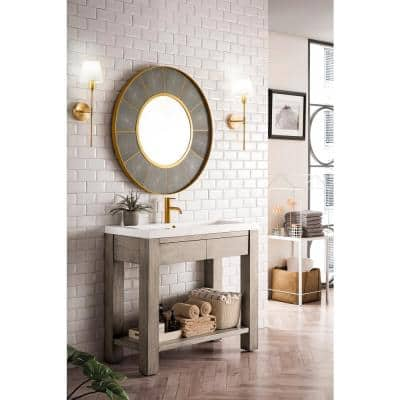 Brooklyn 39.5 in. Console Sink with Wooden Base in Platinum Ash