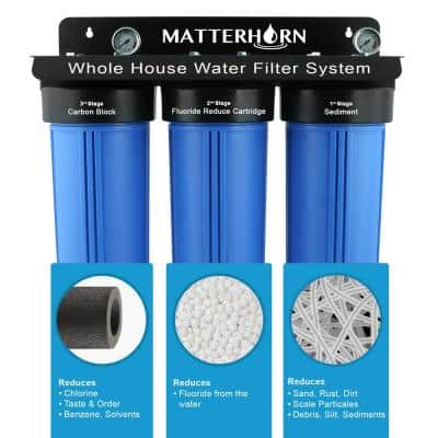 3-Stage Whole House 20 in. Big Blue Water Filtration System Specially Designed for Fluoride Reduction