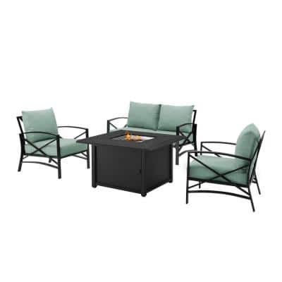 Kaplan Oil Rubbed Bronze 4-Piece Metal Patio Fire Pit Seating Set with Mist Cushions