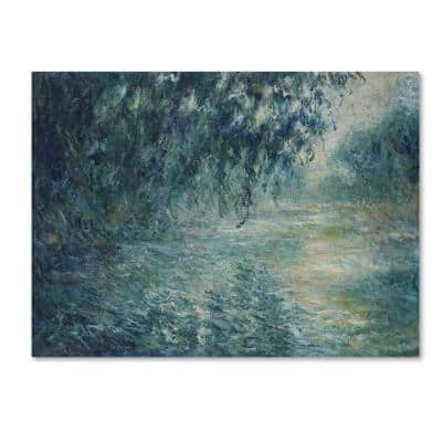 Morning On The Seine by Monet Floater Frame Nature Wall Art 24 in. x 32 in.