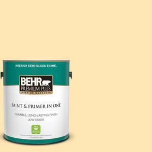 Behr Premium Plus 1 Gal P260 3 Vanilla Ice Cream Semi Gloss Enamel Low Odor Interior Paint And Primer In One 305001 The Home Depot