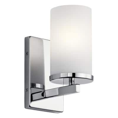 Crosby 1-Light Chrome Wall Sconce with Satin Etched Cased Opal Glass Shade