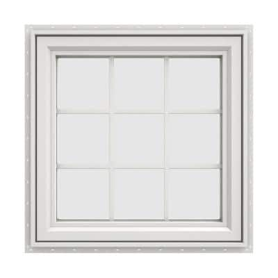 29.5 in. x 29.5 in. V-4500 Series White Vinyl Right-Handed Casement Window with Colonial Grids/Grilles