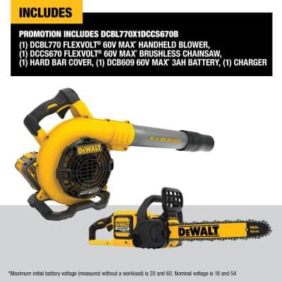 129 MPH 423 CFM 60V MAX Cordless FLEXVOLT Handheld Leaf Blower w/(1) 3.0Ah Battery & Charger w/Bonus Chainsaw(Tool Only)