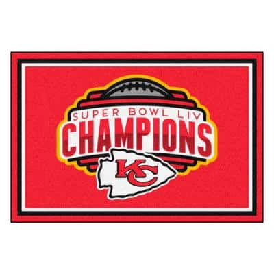 NFL - Kansas City Chiefs Super Bowl LIV Champions Red 5 ft. x 8 ft. Plush Area Rug