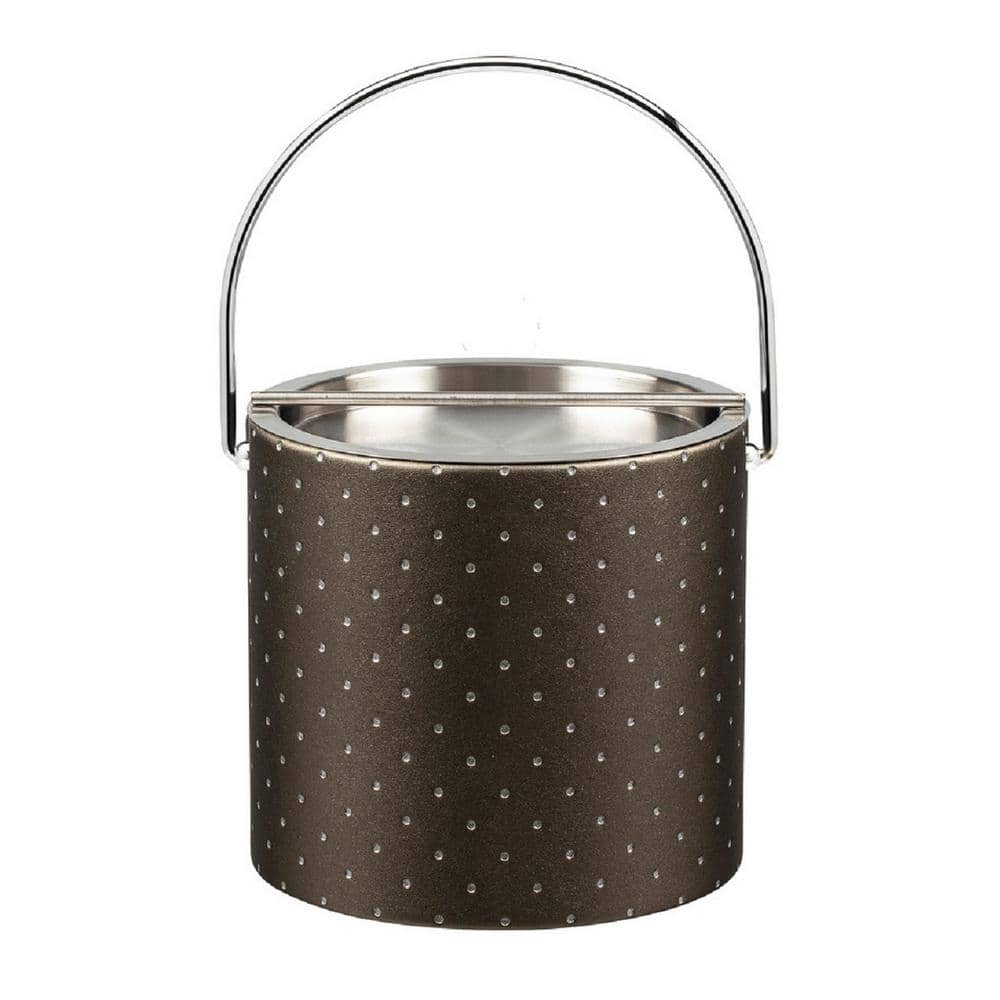 Kraftware 3 Qt Nova Pewter Ice Bucket With Bale Handle And Metal Bar Lid 58868 The Home Depot