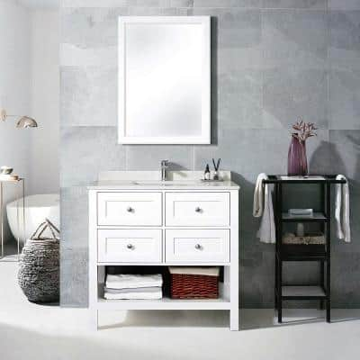 36 in. W x 22 in. D Bathroom Vanity Cabinet Only with Marble Countertop White