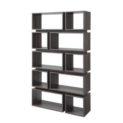 Gari 65.25 in. Distressed Gray/Black Faux Wood 10-shelf Etagere Bookcase with Open Back