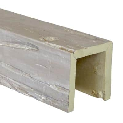 SAMPLE - 6 in. x 12 in. x 6 in. Urethane 3-Sided (U-Beam) Pecky Cypress Faux Wood Ceiling Beam, White Washed Finish