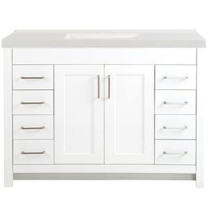 Westcourt 49 in. W x 22 in. D Bath Vanity in White with Cultured Marble Vanity Top in White with White Sink