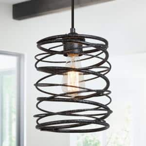 1-Light Mottled Black Rustic Industrial Pendant Light with Spiral Cage Shade 8 in. W x 9.5 in. H