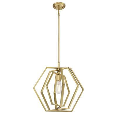 Holly 1-Light Champagne Brass Pendant