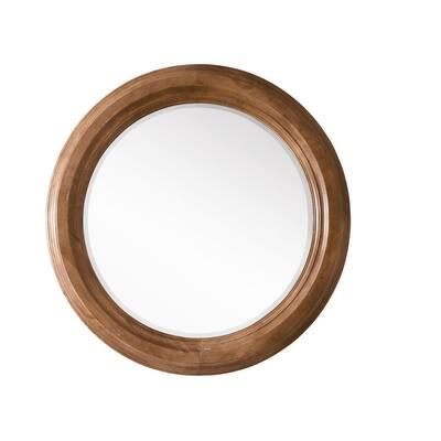 Malibu 40 in. W x 40 in. H Framed Wall Mirror in Honey Alder