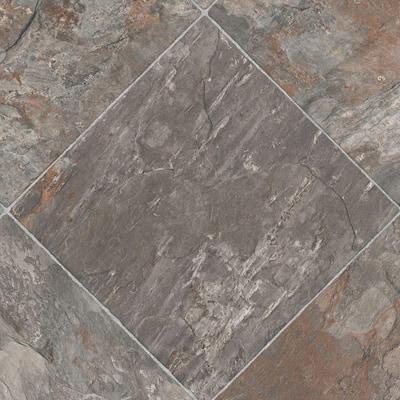 Diagonal Slate Stone Residential/Light Commercial Vinyl Sheet Flooring 12ft. Wide x Cut to Length