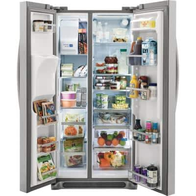 22.3 cu. ft. 33 in. Standard Depth Side by Side Refrigerator in Smudge-Proof Stainless Steel