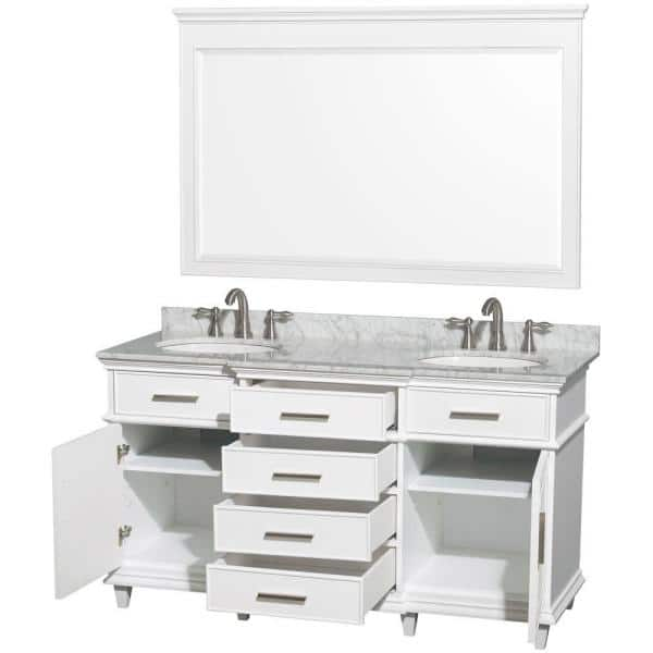 Wyndham Collection Berkeley 60 In Double Vanity In White With Marble Vanity Top In Carrara White Oval Sink And 56 In Mirror Wcv171760dwhcmunrm56 The Home Depot