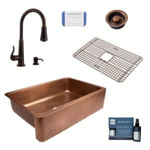 Lange All-in-One Farmhouse Apron-Front Copper 32 in. Single Bowl Kitchen Sink with Pfister Faucet and Drain