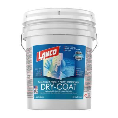 5 Gal. Dry-Coat White Pastel Flat Acrylic-Latex Interior and Exterior Semi-Smooth Masonry Waterproofing Paint