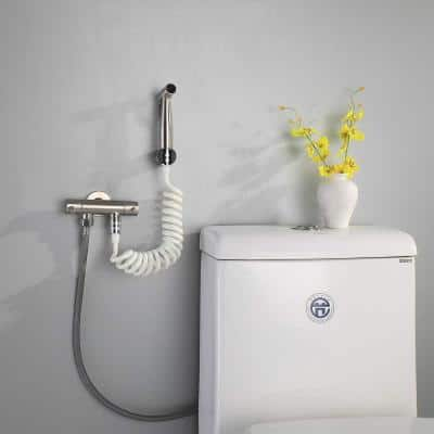 60 in. White TPE Toilet Bidet Sprayer Hose Portable Spring Hose for Pet Wand Attachment Fast and Easy Dog Bathing