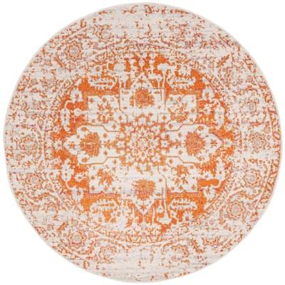 Madison Orange/Ivory 7 ft. x 7 ft. Round Geometric Area Rug