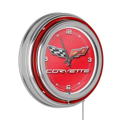 14 in. Red Corvette C6 Neon Wall Clock