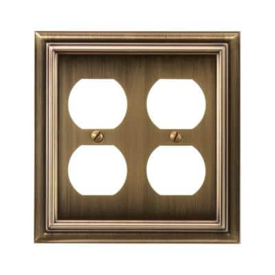 Continental 2 Gang Duplex Metal Wall Plate - Brushed Brass