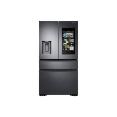 22.2 cu. Ft. Family Hub 4-Door French Door Recessed Handle Smart Refrigerator in Black Stainless, Counter Depth