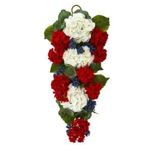 26in. Unlit Artificial Holiday Swag with Geranium and Blue Berry